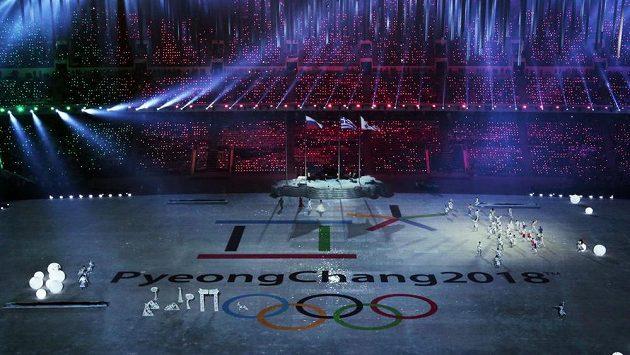 Korejci se v Soči prezentovali i při závěrečném ceremoniálu.