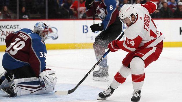Brankář Colorada Avalanche goaltender Pavel Francouz kryje střelecký pokus Robby Fabbriho z Detroitu.