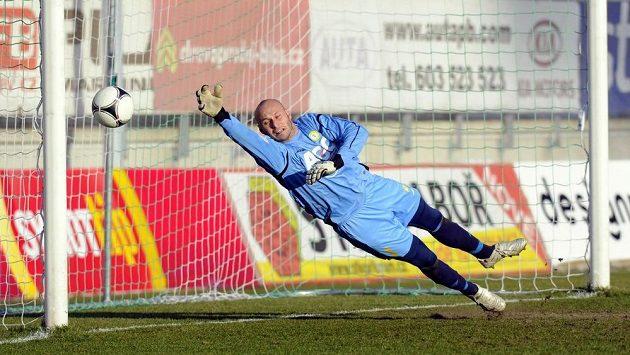 Teplický brankář Martin Slavík inkasuje gól na hřišti Příbrami.