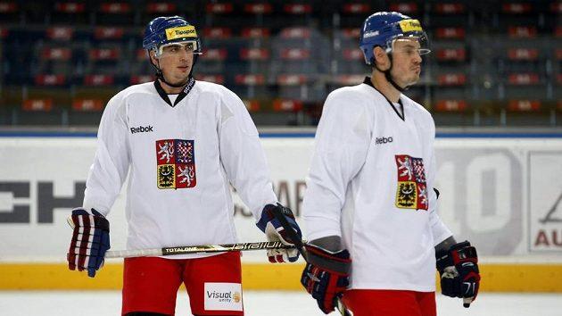 Lukáš Krajíček (vpravo) s Tomášem Kaberlem na archivním snímku z tréninku reprezentace.
