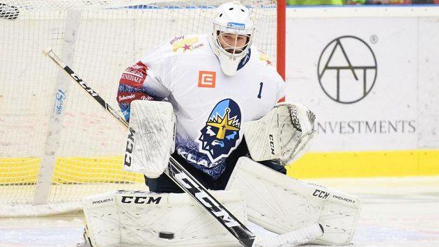 Bývalý brankář Kladna Adam Brízgala během utkání 2. kola Tipsport extraligy, Rytíři Kladno - Hradec Králové.