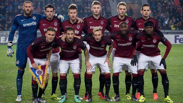 Mužstvo Sparty Praha před prvním utkáním play off Evropské ligy s Krasnodarem.