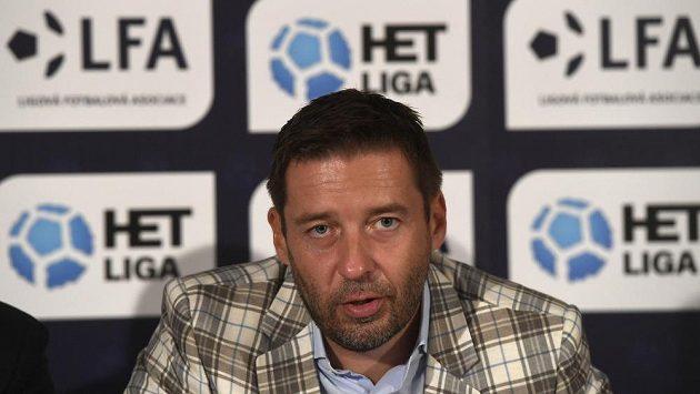 Předseda Ligové fotbalové asociace Dušan Svoboda na tiskové konferenci před startem profesionálních soutěží.