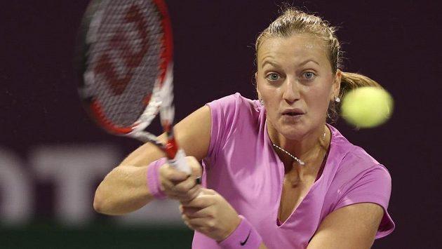 Petra Kvitová v utkání s Venus Williamsovou na turnaji v Dauhá.