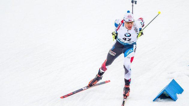 Michal Krčmář při sprintu v Kontiolahti.