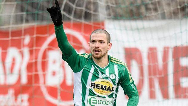 David Bartek z Bohemians oslavuje gól na 1:0 v utkání s Teplicemi.