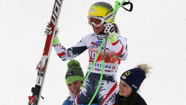 Radost rakouské lyžařky Andrey Fischbacherové.