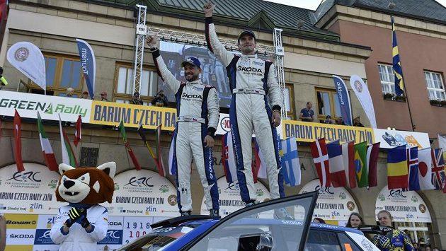 Vítězná posádka Barum Czech rallye Jan Kopecký a Pavel Dresler.