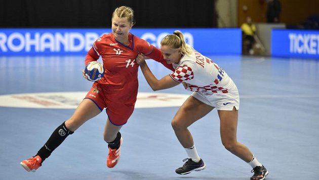 Utkání házenkářek mezi Českem a Chorvatskem o postup na ME 2022.