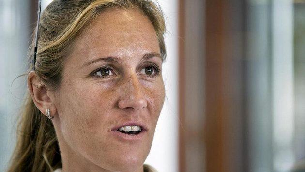 Skifařka Mirka Knapková na tiskové konferenci před mistrovstvím světa ve veslování v Amsterodamu.