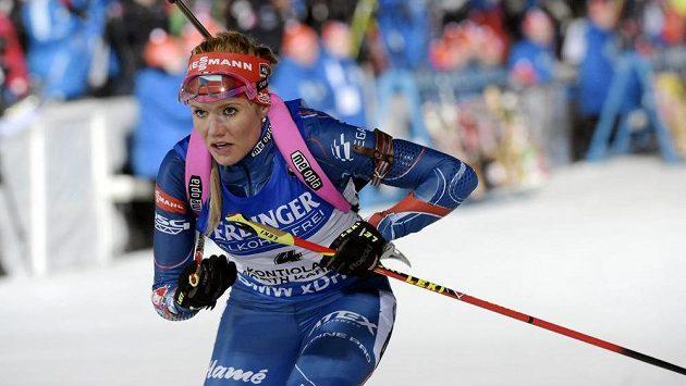 Česká biatlonista Gabriela Soukalová na trati vytrvalostního závodu na MS v Kontiolahti.