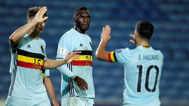 Belgičan Christian Benteke (uprostřed) skóroval v Gibraltaru již v sedmé vteřině a vstřelil nejrychlejší gól v historii kvalifikace MS.