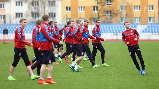 Trénink české fotbalové reprezentace před zápasem kvalifikace MS proti San Marinu.
