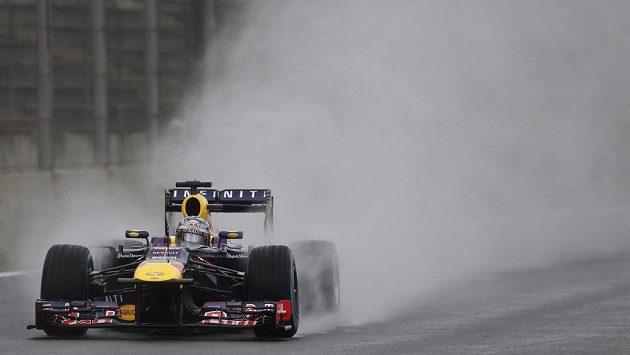 Oblak vodní tříště za vozem Sebastiana Vettela při kvalifikaci na Velkou cenu Brazílie.