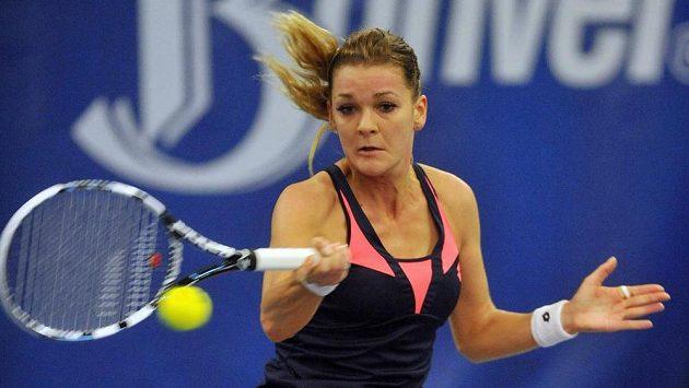 Agnieszka Radwaňská z týmu TK Agrofert Prostějov během finále tenisové extraligy proti TK Precolor Přerov.