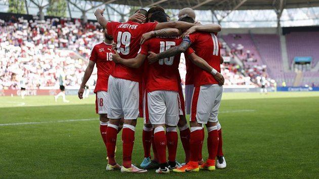 Fotbalisté Švýcarska se radují z gólu.