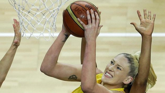 Basketbalistka Lauren Jacksonová v dresu Austrálie.