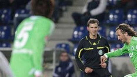 Petr Jiráček v dresu Wolfsburgu v přípravném utkání.