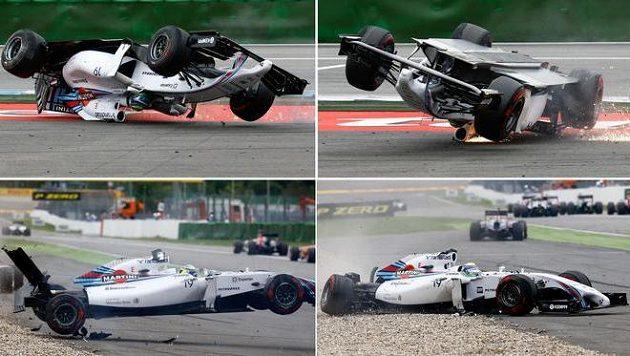 Kotrmelec brazilského pilota Felipeho Massy, jezdec Williamsu ale vyvázl nezraněn.