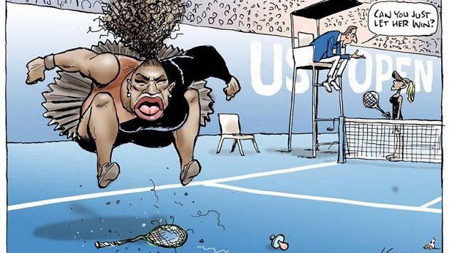 """Karikatura vztekající se Sereny Williamsové od Marka Knighta pro deník Herald Sun. """"Nemůžeš ji prostě nechat vyhrát,"""" domlouvá na ní sudí Carlos Ramos pozdější vítězce US Open Naomi Ósakaové."""