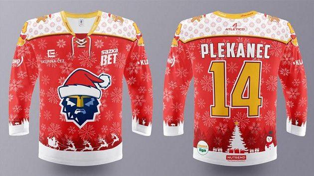 Speciální edice vánočních dresů, ve kterých nastoupí hokejisté Kladna ve středečním utkání proti Přerovu.