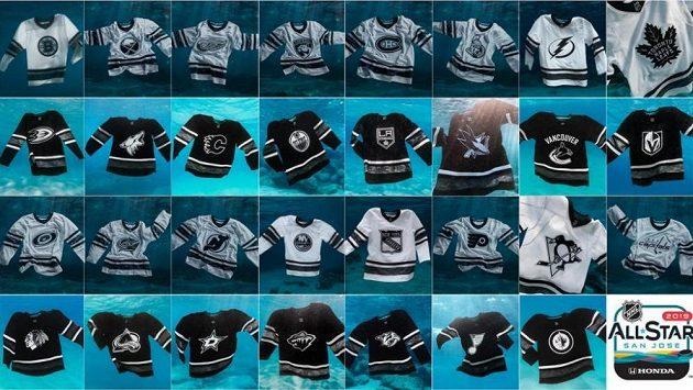 Bílé a černý varianty ekologických dresů pro Utkání hvězd NHL.