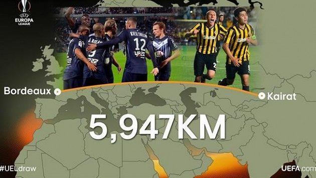 Francouzské Bordeaux a kazašské Almaty dělí skoro šest tisíc kilometrů.