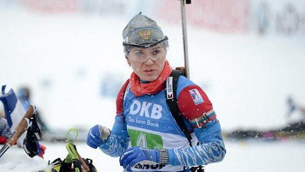 Ruská biatlonistka Margarita Vasiljevová si odpykává osmnáctiměsíční distanc.