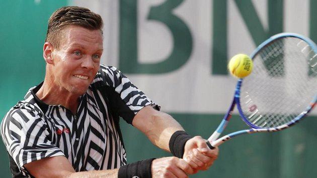 Tomáš Berdych při utkání 3. kola French Open, v němž jeho soupeřem byl Pablo Cuevas z Uruguaye.