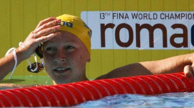 Sarah Sjöströmová po svém závodě na 100 m motýlek v Římě