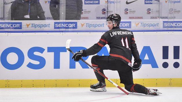 Autor druhého gólu Alexis Lafreniere z Kanady.