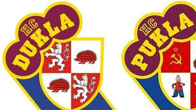 """""""Inovované"""" logo HC Dukla Jihlava, které předělali příznivci rivala z Havlíčkova Brodu."""