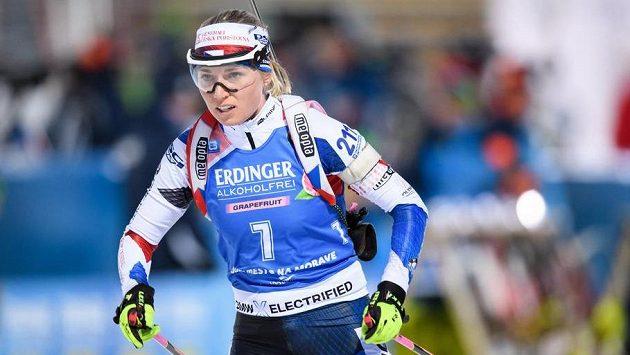 Eva Kristejn Puskarčíková během sprintu žen na 7,5 km v rámci Světového poháru letos v březnu v Novém Městě na Moravě.