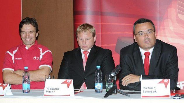 Zleva Ladislav Benýšek, Vladimír Pitter a Richard Benýšek
