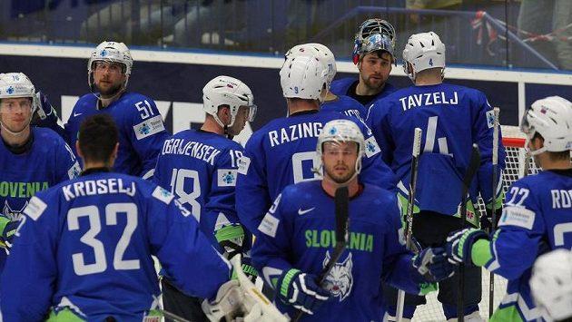 Hokejisté Slovinska po prohře s USA.