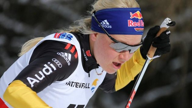 Německá biatlonistka a běžkyně na lyžích Miriam Neureutherová (dříve Gössnerová) ještě v dobách aktivní kariéry.
