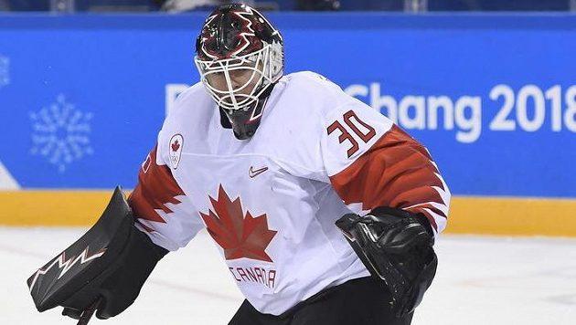 Brankář Ben Scrivens v dresu Kanady na olympijských hrách v Pchjongčchangu.
