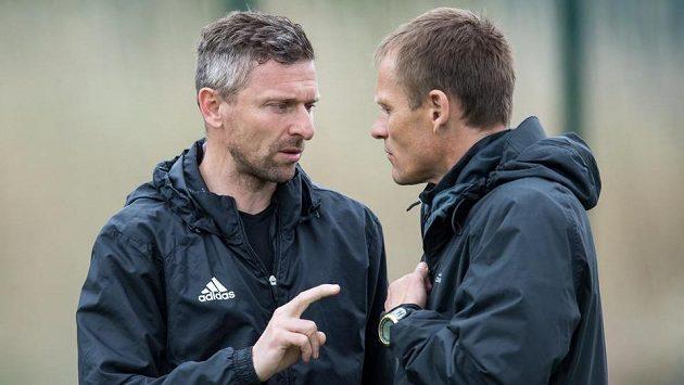 Nový trenér Bohemians 1905 Martin Hašek (vlevo) a jeho asistent Dalibor Slezák mohou být po prvních dvou zápasech spokojeni.