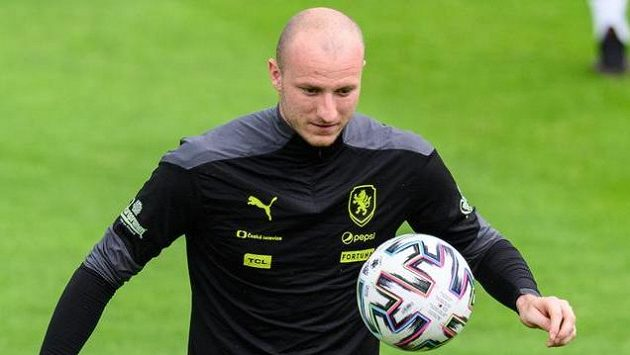 Michael Krmenčík během tréninku fotbalové reprezentace.