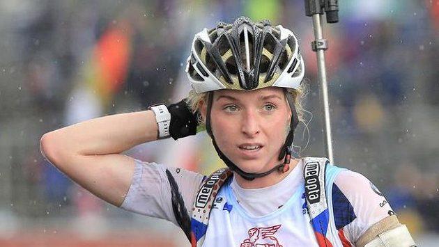 Česká závodnice Markéta Davidová na trati mistrovství světa v letním biatlonu.