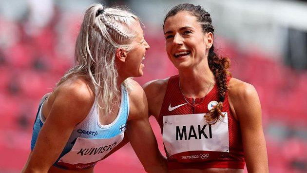 Finka Sara Kuivistová a česká mílařka Kristiina Mäki měly po rozběhu olympijského závodu na 1500 metrů důvod k radosti.