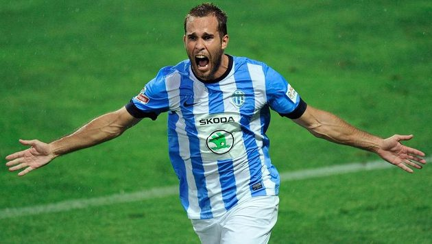 Jan Kysela z Mladé Boleslavi se raduje z gólu.