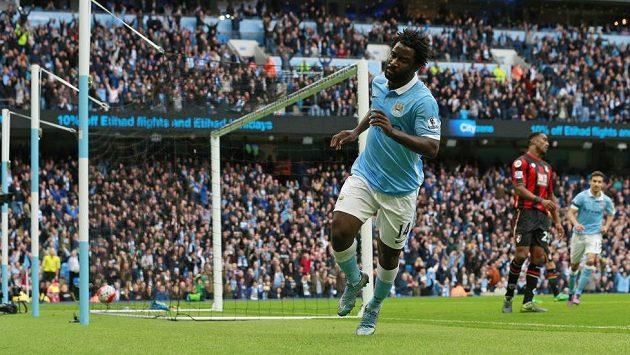 Forvard Manchesteru City Wilfried Bony se raduje z gólu proti Bournemouthu.