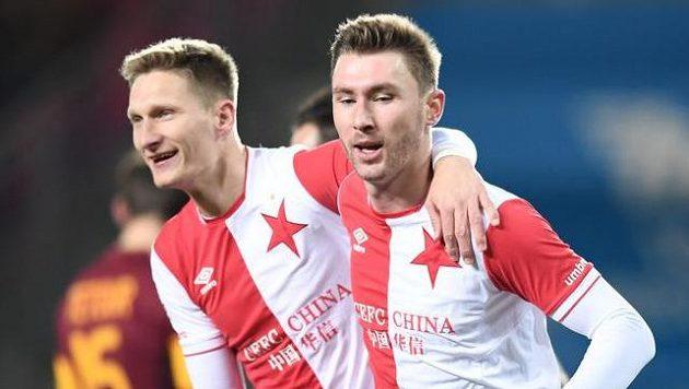 Dva dvougóloví střelci Slavie - Milan Škoda a Jaromír Zmrhal.