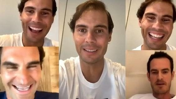 Rafael Nadal spolu s Andym Murraym a Rogerem Federerem pobavil fanoušky.