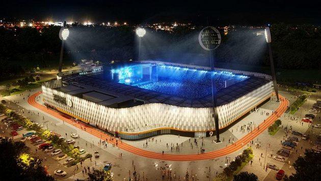Nový fotbalový stadion (na vizualizaci) v Hradci Králové postaví za 568 milionů korun bez DPH uskupení tří firem, rozhodli zastupitelé města.