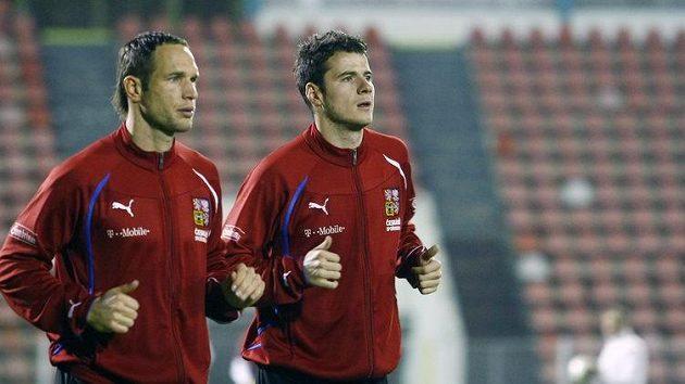 Jan Polák (vlevo) a Daniel Pudil na tréninku národního týmu.