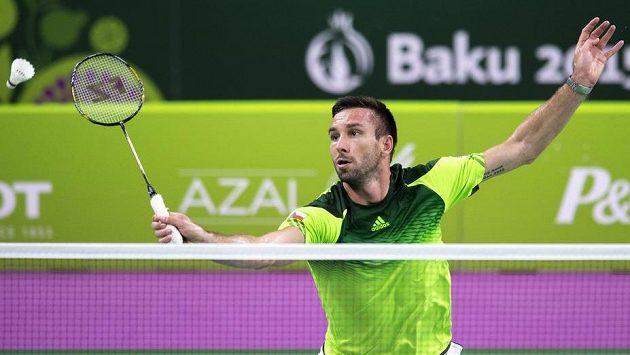 Český badmintonista Petr Koukal zatím na Evropských hrách plní roli favorita.
