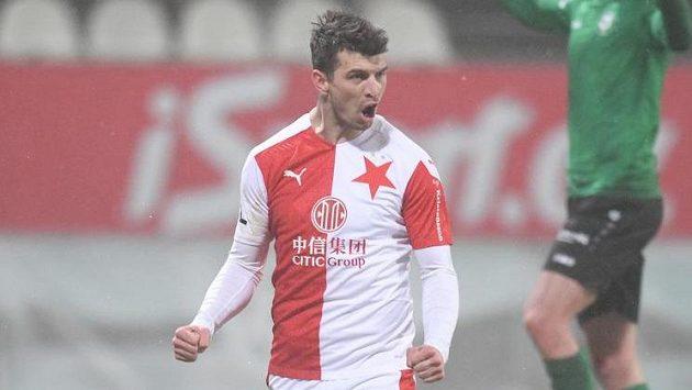 Obrat proti Příbrami dokonán, slávista Ondřej Kúdela proměnil penaltu a odčinil vlastní gól.