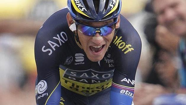 Roman Kreuziger na trati horské časovky, 17. etapy slavné Tour de France.